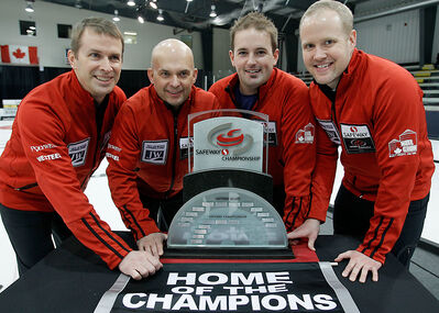 Jeff Stoughton, Jon Mead, Reid Carruthers and Mark Nichols defeated Mike McEwen in the final of the Safeway Championship in Winnipeg on Sunday.