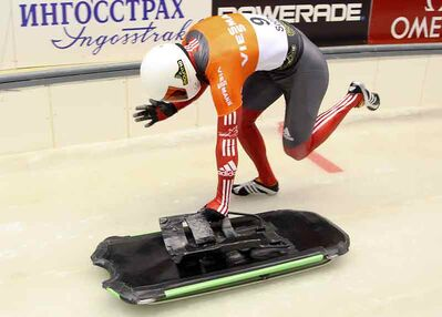 Russell's Jon Montgomery pushes out of the starting blocks Friday in Sochi, Russia.