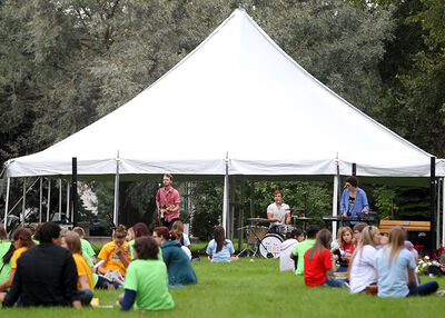 New students enjoy a concert by Until Red on the front lawn of Brandon University during a Welcome Back barbecue hosted by the Brandon University Students' Union on Tuesday.