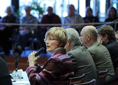 Brandon Mayor Shari Decter Hirst speaks during a public budget forum in February.