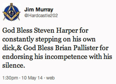A screen grab of Brandon School Division trustee Jim Murray's Twitter feed.