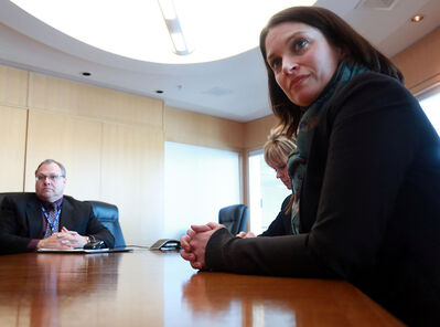 Provincial Health Minister Erin Selby, right, fields questions with Prairie Mountain Health chief executive officer Penny Gilson, back, and Brandon Regional Health Centre chief operating officer Brian Schoonbaert at BRHC on Monday.