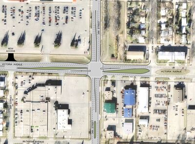 Major upgrades are planned for one of Brandon's busiest intersections — 34th Street and Victoria Avenue. This map provided by Manitoba Infrastructure shows the slotted left-turn lanes, which will make navigating through the intersection much safer. Plans also include more pedestrian-friendly features.
