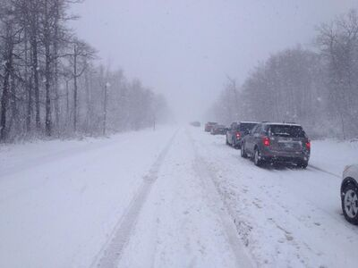 Blizzard conditions closed portions of highway 10 Sunday evening.