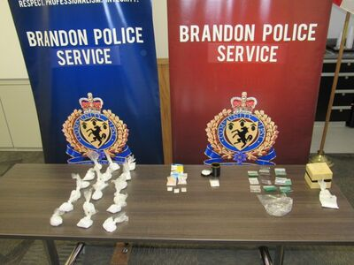 Pictured here is the cocaine and methamphetamine seized by the Brandon Police Service during arrests made Monday evening as part of an ongoing investigation.