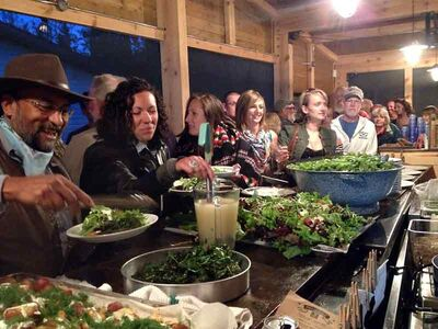 """Film buffs and home-grown food foodies chow down at the Foxtail Cafe in Onanole on the final night of the inaugural Riding Mountain National Park Film Festival this summer. Festival founder Steve Langston asked Wes Huyghe from Littlepath Farms, who was featured in the film """"To Make a Farm,"""" to supply many of the ingredients that Foxtail owner and chef Tyler Kaktins transformed into a feast of Manitoba's bounty for the happy diners.""""Dinner and a movie was a huge success,"""" Langston said. """"Tyler, Wes and myself all came together and brought different skills and products to the table. The result was a memorable evening that inspired people to eat and live locally."""""""