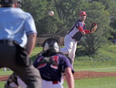 RFNOW Cardinals Jeff Neufeld pitches against the Simard Industrial Giants during Game 2 of their Andrew Agencies Senior AA Baseball League semifinal at Sumner Field on Monday.