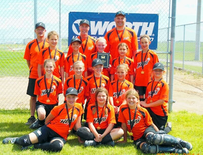 Pictured are (L-R): Coaches Todd, John and Mike; • Back row: Mackenzie, Kaitlyn, Breana, Jordan and Megan; • Second row: Sydney, Rylee, Alexis, Kyra and Jori; • Bottom row: Emily, Cameron and Jayde.