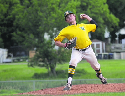 Young Guns pitcher Jordan Robertson allowed four runs on seven hits in seven innings as the Cardinals won Game 1 of the Andrew Agencies Senior AA Baseball League final 4-3 at Sumner Field on Tuesday. (Thomas Friesen/The Brandon Sun)