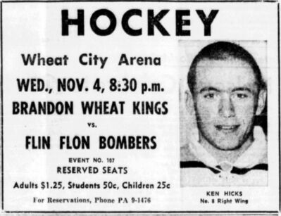 Ken Hicks is featured in a Brandon Wheat Kings ad on Nov. 3, 1964.