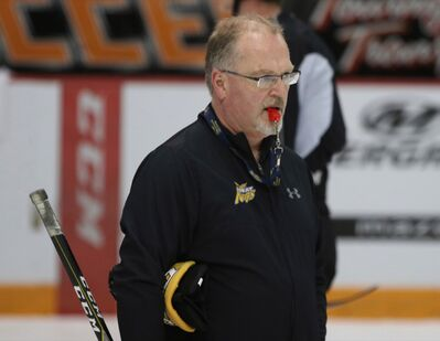 Brandon Wheat Kings assistant coach Don MacGillivray, shown during a team practice at Westoba Place in 2018, has signed on to continue to serve in the role under new head coach Dave Lowry.