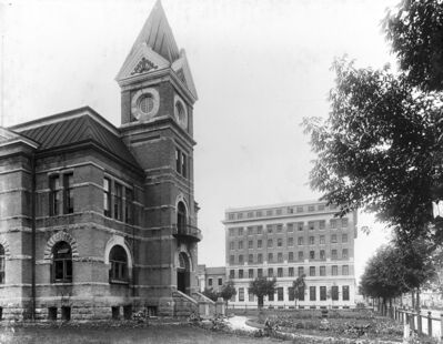 Another view of Brandon's old City Hall, with the Prince Edward Hotel in the background. Circa 1912.