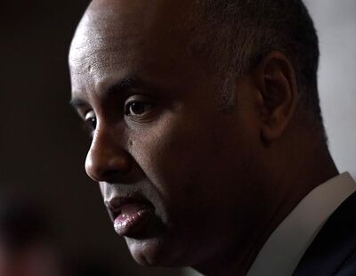 Minister of Immigration, Refugees and Citizenship Ahmed Hussen makes an announcement on medical inadmissibility in the Foyer of the House of Commons on Parliament Hill in Ottawa on Monday, April 16, 2018. THE CANADIAN PRESS/Justin Tang