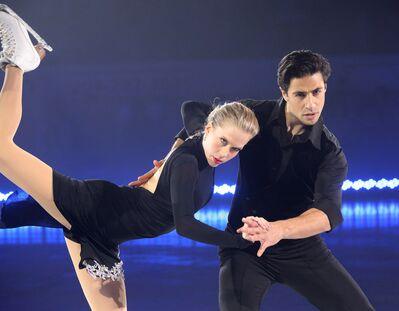 Figure skaters Kaitlyn Weaver and Andrew Poje perform in Brandon on Sunday as part of the Thank You Canada Tour.