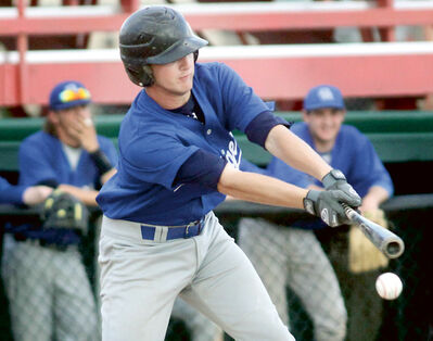 Oak River Dodgers' batter Taw Fredrickson swings at a pitch on Tuesday evening at Andrews Field.