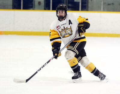 Brandon Wheat Kings defenceman Nolan Wallace skates in a Manitoba U18 AAA Hockey League game against the Eastman Selects on Wednesday at the Sportsplex. The young blue-liner has embraced his role as the only returning defenceman this season.