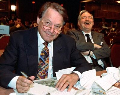 Bernard Landry, vice-president of the Parti Quebecois, has a laugh with PQ President Jacques Parizeau (right), at a general party meeting in Montreal, April 4, 1993. Landry, a sharp-tongued soldier for the independence movement and longtime Parti Quebecois stalwart, died Tuesday at the age of 81.THE CANADIAN PRESS/Jacques Nadeau