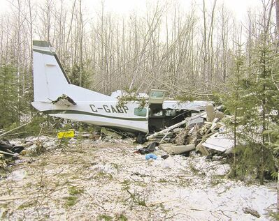 RCMP handout The wreck of the plane lies in bush about 10 kilometres east of Snow Lake. Mark Gogal, a Snow Lake resident, was killed.