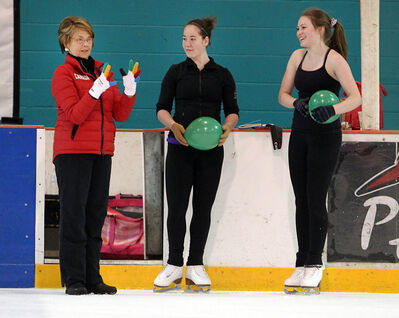 Former Olympic figure skater and coach Christy Krall instructs Skate Brandon athletes during a clinic at the Kinsmen Arena on Thursday afternoon. Krall coached Patrick Chan to gold medals at the 2011 and 2012 world championships.