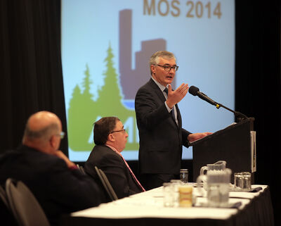 Municipal Government Minister Stan Struthers addresses the Municipal Officials Seminar at the Keystone Centre on Wednesday. Struthers said he doesn't expect any municipalities with a population of less than 1,000 to continue to fight amalgamation legislation.