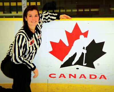 Erica Holmes, a graduate of the U of M Bisons, is one of Hockey Canada's up-and-coming young female officials.