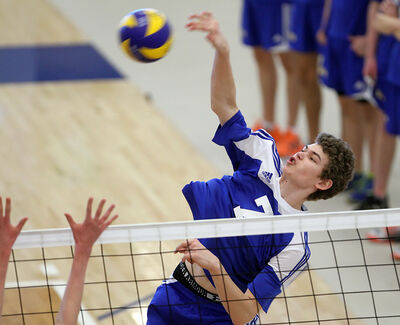 Seth Friesen hammers a kill for Brandon's 17-and-under squad during last weekend's BVC Classic boys club volleyball tournament at BU's Healthy Living Centre.
