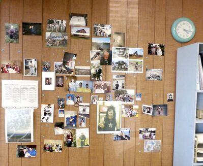 A wall of photos decorates the Deloraine Times & Star office in 2018. (Submited by Angela Long)