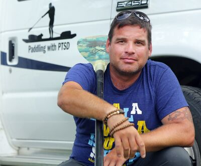 Trevor Petersen left Edmonton by paddle board on Canada Day to raise awareness for Post Traumatic Stress Disorder. The former Canadian Forces soldier, with tours of duty in Bosnia and Afghanistan, leaves Brandon today to continue his journey on the Assiniboine River.