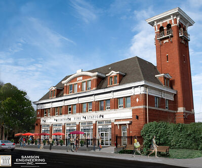 Samson Engineering's conceptual rendering of its plans for the former fire hall on Princess Avenue.
