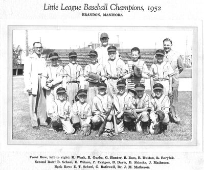 The Scheels Blockbusters won the 1952 Little League title in Brandon. Bob Wilson is the first player on the left in the second row.
