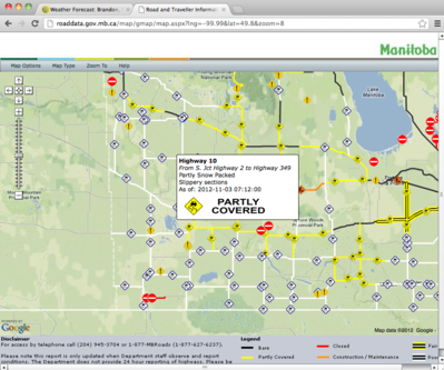 For up to date road conditions visit: http://www.gov.mb.ca/mit/roadinfo/