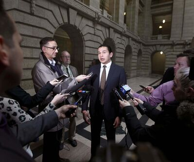&#34;I asked (Selinger) to resign &mdash; he decided to go speak to the media,&#34; NDP Leader Wab Kinew told reporters. (Phil Hossack / Winnipeg Free Press)</p>