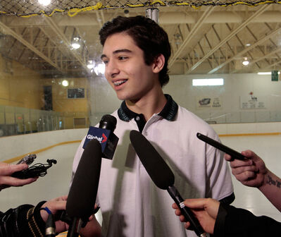 Winnipegger Stelio Mattheos was all smiles while meeting the media on Thursday after being selected first overall by the Brandon Wheat Kings in the WHL bantam draft.