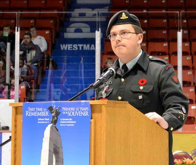 Master Bombardier Michael Brooks, from Brandon's 2520 Royal Canadian Army Cadet Corps – 71 Bty RCA Cadets shares the experience he had when visiting Vimy Ridge  — which left him 'speechless' — with a rapt Remembrance Day audience at the Keystone Centre.