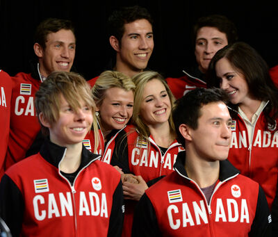Figure skaters Kirsten Moore-Towers (centre, left) and Paige Lawrence ofVirden (centre, right) laugh as they are joined by teammates (clockwise from top left) Dylan Moscovitch, Rudi Sweigers of Virden, Scott Moir, Tessa Virtue, Patrick Chan and Kevin Reynolds in Ottawa on Sunday.
