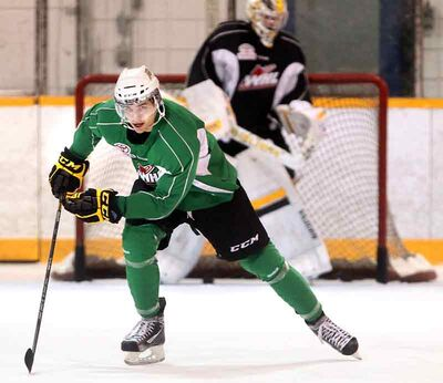 MarekKalus skates up the ice during the Brandon Wheat Kings' practice Thursday at the Sportsplex. Acquired last week, Kalus played two games with his new team before they could practise together, but he's making himself at home this week.