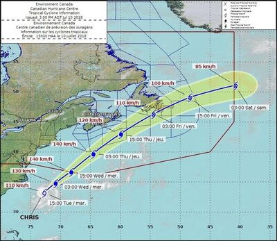"The projected course of tropical storm Chris is shown in this handout graphic. Tropical storm Chris is expected to swing south of Nova Scotia at hurricane strength later this week before making landfall in Newfoundland as a ""very strong"" post-tropical storm, a meteorologist warned Tuesday. THE CANADIAN PRESS/HO - Environment Canada"
