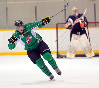 Wheat Kings left-winger Jesse Gabrielle turns to head up ice during practice Tuesday at the Sportsplex.
