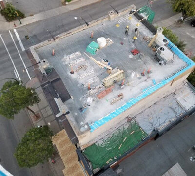 An aerial view of the work done last summer on the Brandon Chamber of Commerce building in downtown Brandon. The Brandon chamber could receive up to $50,000 in property tax relief after having successfully applied for the Municipal Heritage Incentive Program. (City of Brandon photo)