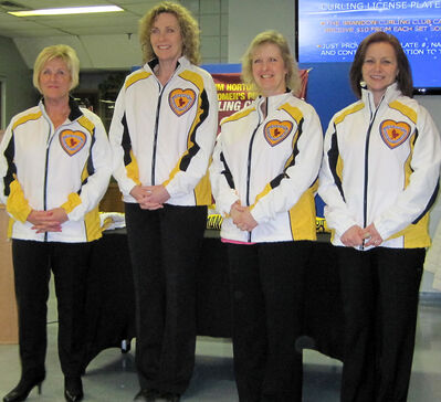 From left, skip Lois Fowler, third Maureen Bonar, second Cathy Gauthier and lead Allyson Stewart were honoured at a Brandon Curling Club sendoff on Tuesday night.