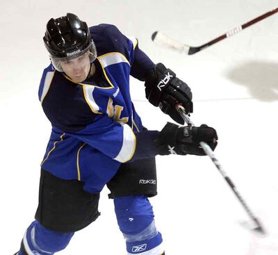 Souris's Jonathan Filewich takes a shot in playoff action on the weekend.