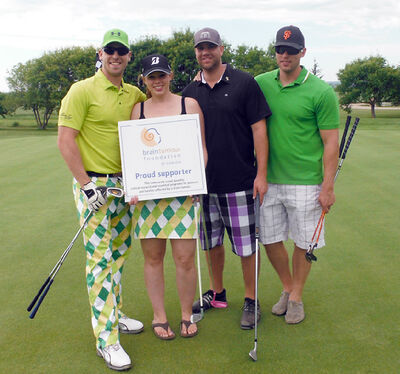 Connor Thomson, wife Glynis, Glen Lea Golf Course general manager Jason Earl and Bryce Penteliuk stop for a photo during the second annual Birdies for Brain Tumours charity golf tournament last year. Thomson was diagnosed with a brain tumour in 2011 and has raised more than $60,000 for cancer research in just two years. This year's tournament will take place on July 12, with early bird registration ending June 12.