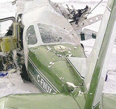 The wreckage of the six-seater Cessna 210 airplane that crashed near Waskada on Sunday,  killing pilot Darren Spence and sons Logan and Gage, and Dawson Pentecost.