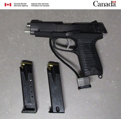Canadian customs officers seized this loaded handgun and ammunition on June 21 at the Lyleton crossing.