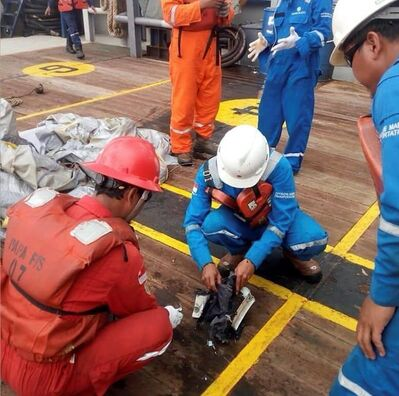 In this photo released by Indonesian Disaster Mitigation Agency (BNPB) rescuers inspect debris believed to be from a Lion Air passenger jet that crashed off West Java on Monday, Oct. 29, 2018. A Lion Air flight crashed into the sea just minutes after taking off from Indonesia's capital on Monday in a blow to the country's aviation safety record after the lifting of bans on its airlines by the European Union and U.S. (BNPB via AP)