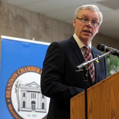 Premier Greg Selinger delivers his State of the Province address to the Brandon Chamber of Commerce at the UCT Pavilion in the Keystone Centre on Thursday. Selinger also sat down with the Sun's editorial board.