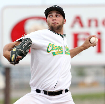 Cloverleafs pitcher Anthony Friesen winds up against the Rockets Wednesday.