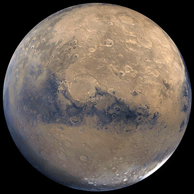 This photo released by NASA shows a view of Mars that was stitched together by images taken by NASA's Viking Orbiter spacecraft. Julie Perreault is the only Manitoban in the running to receive a one-way ticket to Mars. If chosen, she will leave behind her brother Maurice, who lives in  Brandon.