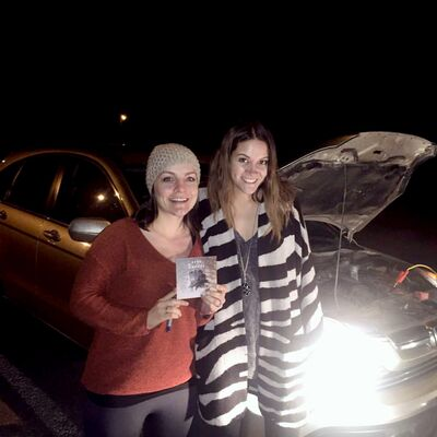 Mandy Rogasky, left, and her husband, Tim, stopped on Highway 16 to help a stranded driver in need, who turned out to be Winnipeg musician Sierra Noble, right.