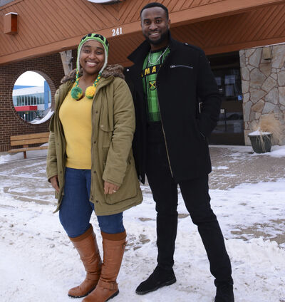 Emelio Brown, president of Westman Jamaican Community Inc., and vice-president Verene Wilks stand outside the Prairie Oasis Senior Centre, where they will host their first pavilion during next year's Westman Multicultural Festival.